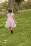 后面观点的桃红色礼服的小女孩在草 免版税库存照片