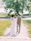 后面观点的沿公园的走的新婚佳偶 库存照片