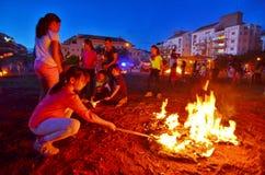 滞后BaOmer篝火在以色列 库存照片