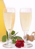 吐露的瓶香槟 免版税库存照片