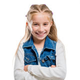 向上指向的小女孩 免版税库存图片