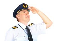 向上查找飞行员的航空公司 免版税库存照片
