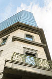 向上街道视图一个大厦在索非亚,保加利亚 免版税库存照片