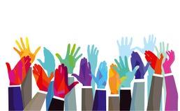 向上被举的小组五颜六色的手 免版税库存照片