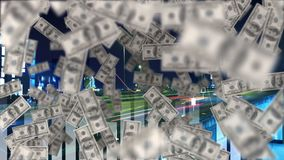 向上飞行的美元 影视素材