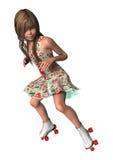轴向冰鞋的女孩 库存照片