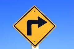 向右转黄色路标 库存图片