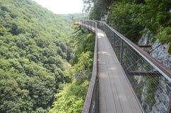 向吊桥, Okatse峡谷,乔治亚的道路 库存图片