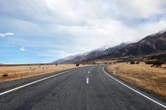 向国家公园库克山的柏油路 库存图片