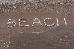 向在海滩湿沙子的海背景扔石头  免版税库存图片