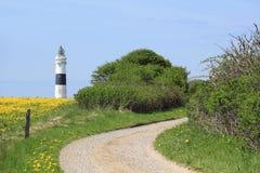 向坎彭灯塔的道路在叙尔特岛海岛上的  库存照片