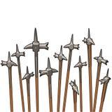 向天空指向的小组warhammers 免版税图库摄影
