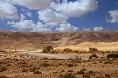 向无处的一条路在沙漠 免版税库存图片