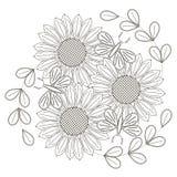 向日葵、风格化花和蝴蝶黑白剪影反重音着色页的 库存图片