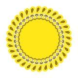 向日葵从事园艺的商标标志,象平的样式设计,传染媒介 库存图片