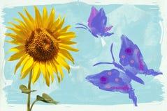 向日葵和蝴蝶水彩 免版税库存图片