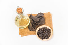 向日葵油、油渣饼和向日葵种子 免版税库存照片
