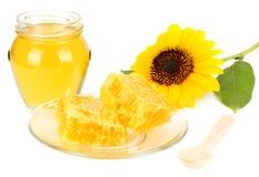 向日葵用在白色背景隔绝的蜂蜜 蜂蜜玻璃银行  库存图片