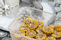 向日葵种子自创曲奇饼 免版税库存照片