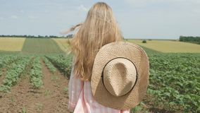 向日葵领域的农夫孩子,女孩,学习的孩子,走在耕地收获 库存图片