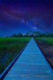 向未知的目的地的道路与银河 库存照片
