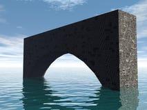向桥梁扔石头 库存照片