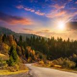 向森林的弯曲道路在日落的山的 免版税库存照片