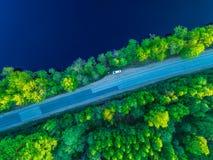 向海岸的路沿从高度的森林照片 免版税图库摄影