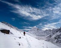 向珠穆琅玛营地的路在Sagarmatha,尼泊尔 库存照片