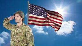 向致敬反对美国国旗的美军士兵的数字动画 影视素材