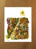 向被按的叶子太阳花束,照片操作的路 免版税库存照片