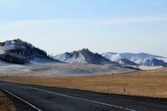 向西部萨彦岭山麓小丘的路  免版税图库摄影