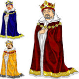 向量三个颜色的动画片国王 向量例证