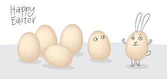 向量与动画片小的面颊的复活节彩蛋。 简单的草图eas 免版税库存图片