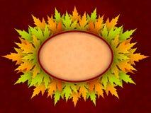向量与槭树叶子的秋天背景 库存图片