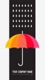 向量伞和雨下落 抽象天气 图库摄影