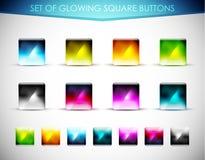 向量发光的玻璃按钮 库存图片
