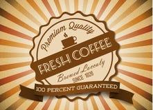 向量咖啡grunge减速火箭的葡萄酒标签 免版税库存照片