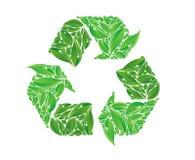 向量回收符号由叶子制成 库存图片