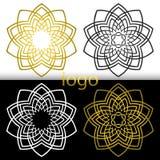向量图形几何金黄,白色,黑花标志 免版税库存图片