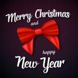向量圣诞快乐贺卡 与圣诞快乐和新年快乐纸字法的现实红色丝带 库存例证