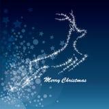 向量圣诞节鹿,满天星斗的背景 库存图片