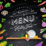 向量套菜单的设计要素在黑板 免版税库存照片