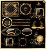 向量套葡萄酒构成的黑色和金标签 库存照片