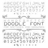 向量字体或字母表在乱画样式与数字和标点符号 库存图片