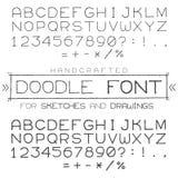 向量字体或字母表在乱画样式与数字和标点符号 免版税图库摄影