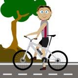 向量山骑自行车的人 免版税库存照片