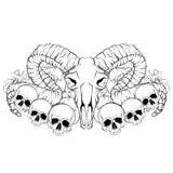 向量手拉的例证 与公羊的头骨的艺术品 皇族释放例证