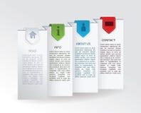 向量标签-与四个五颜六色的丝带标记的被折叠的纸张和 库存照片