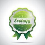 向量生态产品标记与发光的被称呼的设计的例证在一个清楚的背景。 EPS 10。 库存照片